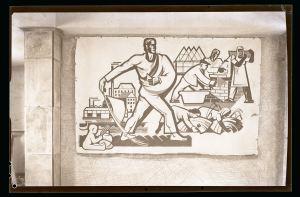 Sgraffito für den Schalterraum einer Sparkassenfiliale in Potsdam-West (1949), Foto: Max Baur / Sammlung Potsdam Museum