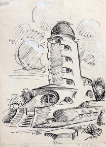 Walter Bullert, Einsteinturm, 1926, Federzeichnung, Privatbesitz © VG Bild-Kunst, Bonn 2015, Foto: Judith Granzow