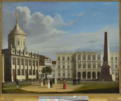 Johann Wilhelm Gottfried Barth, Der Alte Markt in Potsdam nach Südosten mit Altem Rathaus und Palast Barberini, 1823 © Potsdam Museum, Foto Michael Lüder